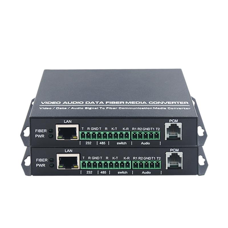 1 par de red de audio de conmutación 485 teléfono 232 transceptor óptico multifunción transceptor de fibra óptica de una sola fibra m
