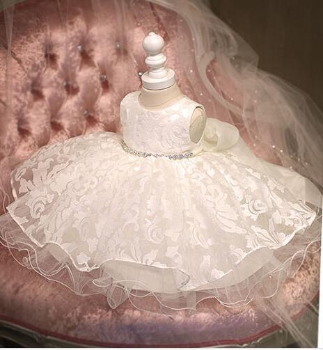 ¡Nuevo! vestido Glizt de tul blanco con diamantes para niñas pequeñas, vestidos de 1 año de cumpleaños