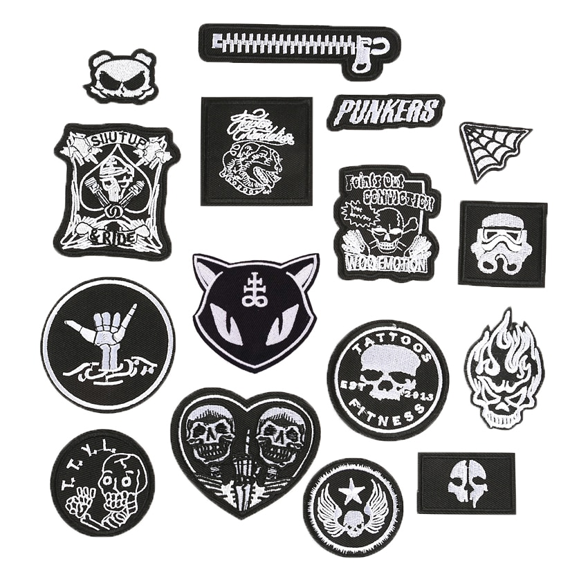Dark Punk Embroidery Back Patches for Stripes on The Backpack Stickers on Fabric Iron on Clothes Skeleton Cat Skull Appliques