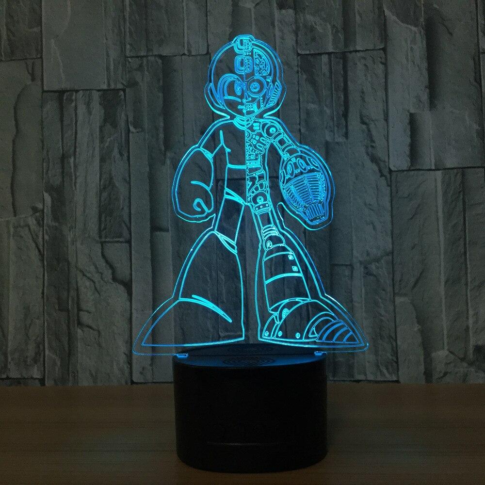 Rockman figura de acción 3D Led lámpara de luz nocturna Rockman colorido USB LED acrílico iluminación luz nocturna