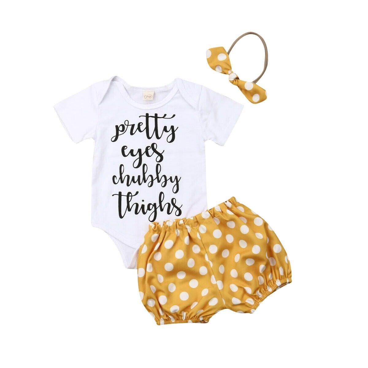 0-24 M Bonito Bebê Recém-nascido Menina Bodysuit de Algodão De Manga Curta Tops Polka Dot Shorts Pant Inferior Cabeça 3 PCS Conjunto de Roupas de Bebê