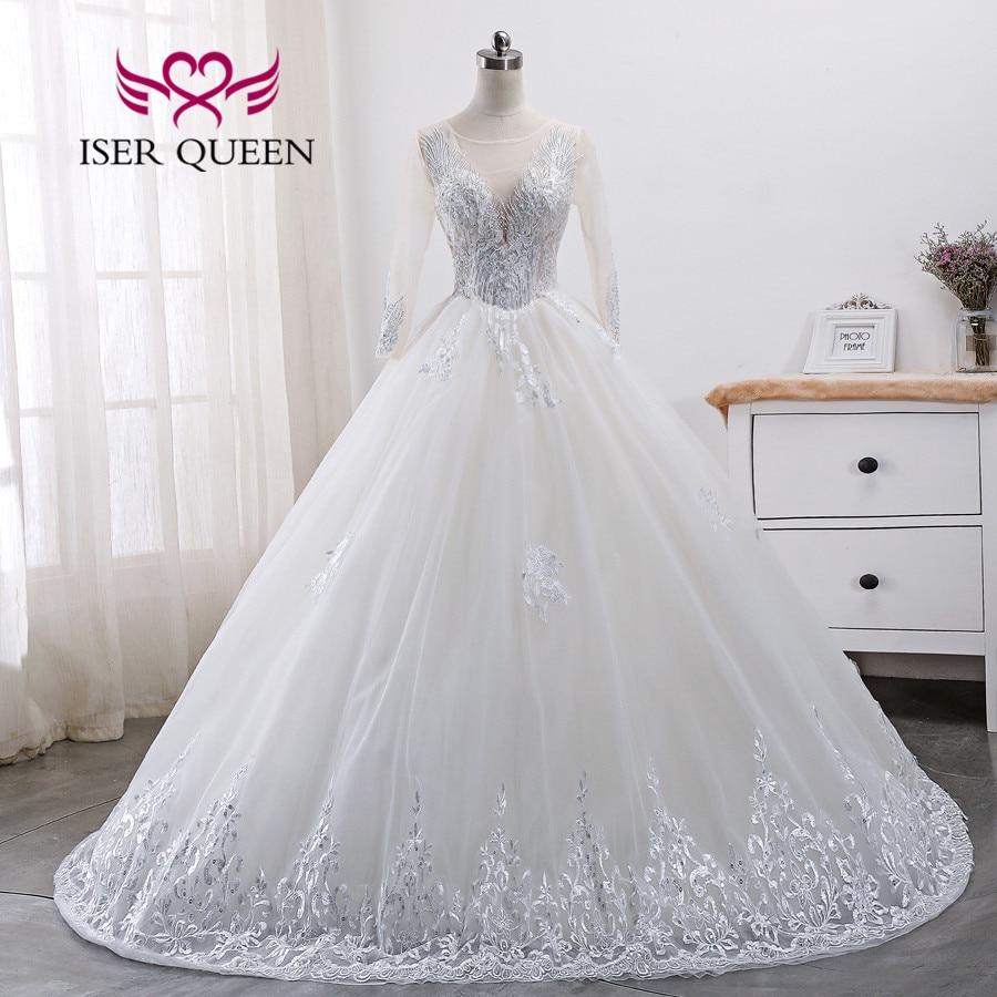 Manga larga Hollow a Dubai boda Vestido 2019 vestidos De boda Champagne cordón bordado Vestido De Novia De WX0007