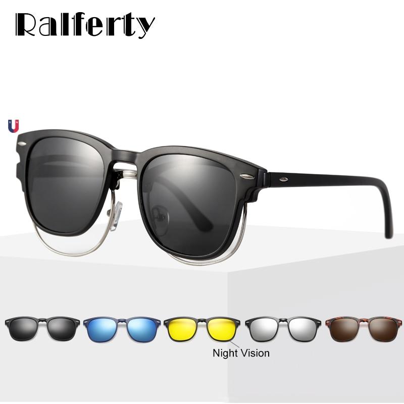 Gafas de sol flexibles Ralferty 5 en 1 con Clip magnético para hombre y mujer, gafas de sol polarizadas UV400, montura de gafas de prescripción sin dioptrías