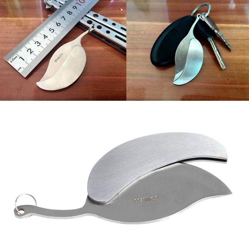 LLavero de plata de acero inoxidable llavero con anilla para llaves anillo Mini plegable cuchillo de hoja herramienta de campamento al aire libre kit de supervivencia bolso de caminata portátil