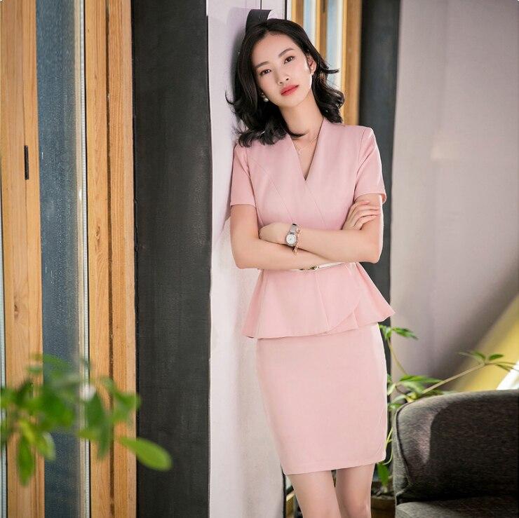 2019 الصيف أزياء جديدة سترة تنورة مجموعة ، Elegantes روخو ، رأ المرأة دعوى تنورة مجموعة ، حزب الزفاف الرسمي تنورة. قصيرة الأكمام ، S-XXXL