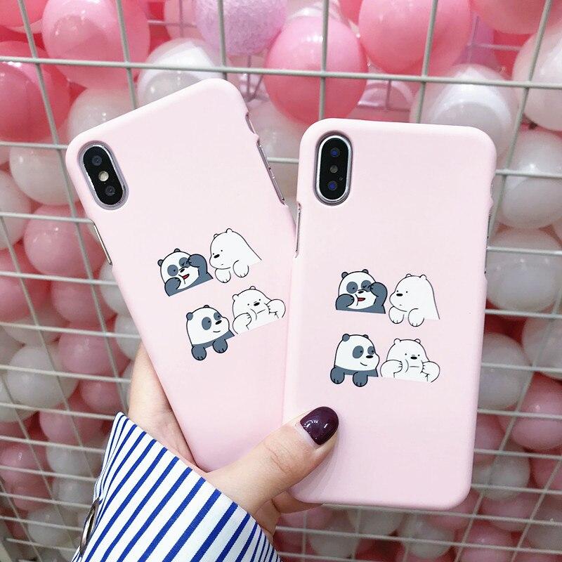Coque para iPhone X funda de teléfono delgado de oso de dibujos animados para iPhone X 7 7Plus 6 6s 8 Plus funda de estilo coreano