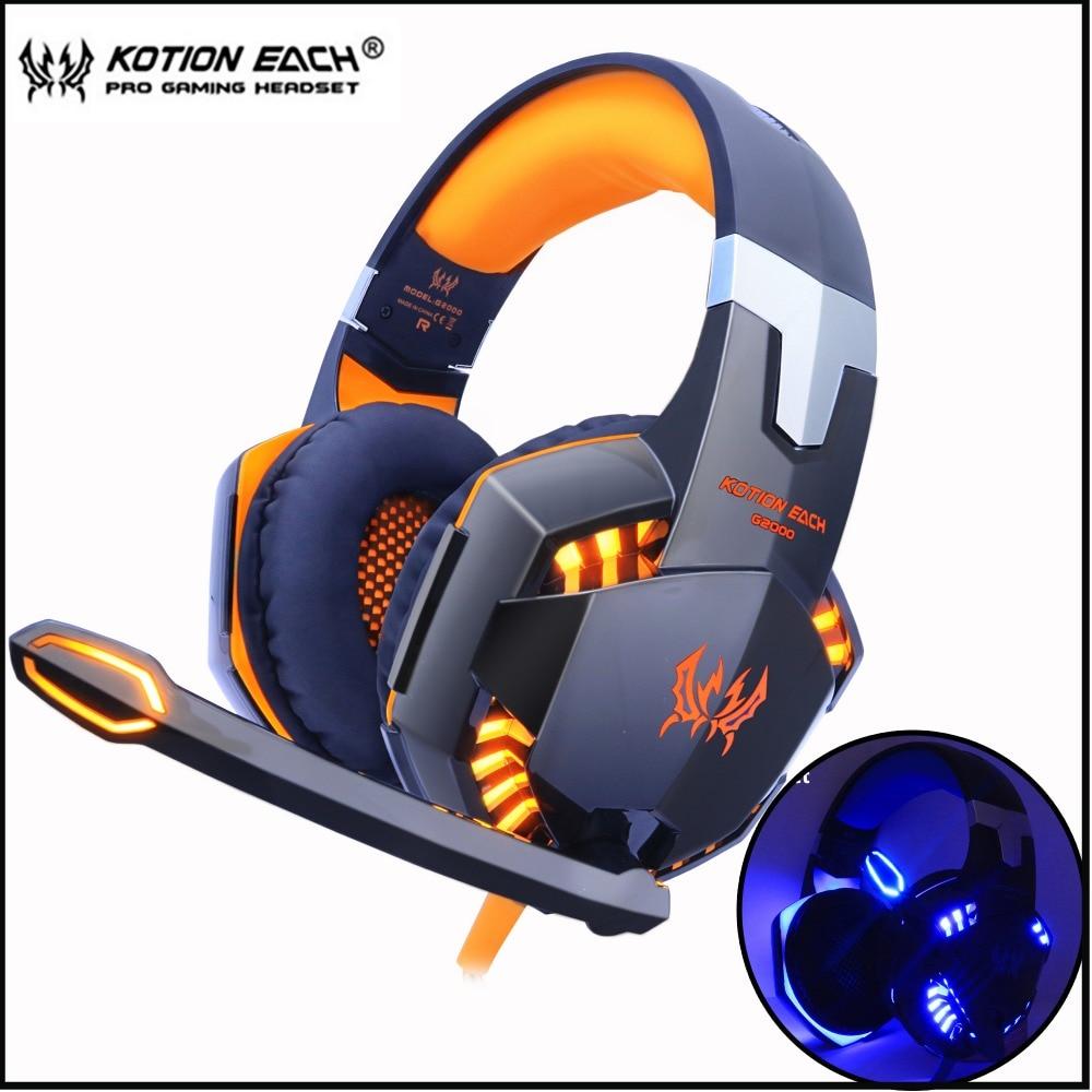 سماعات رأس لألعاب الفيديو-KOTION EACH., سماعات ذات صوت ستاريو عميق ، تحتوي على ميكروفون بإضاءة LED ، و مناسبة للعب على الحاسوب المحمول و بلايستيشن 4 و...