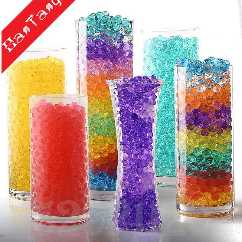 1000 Uds (20g) bolas de hidrogel de tierra cristalina bolas de agua creciente, perlas de agua de Gel de cristal, perlas de gelatina Aqua crece 7z