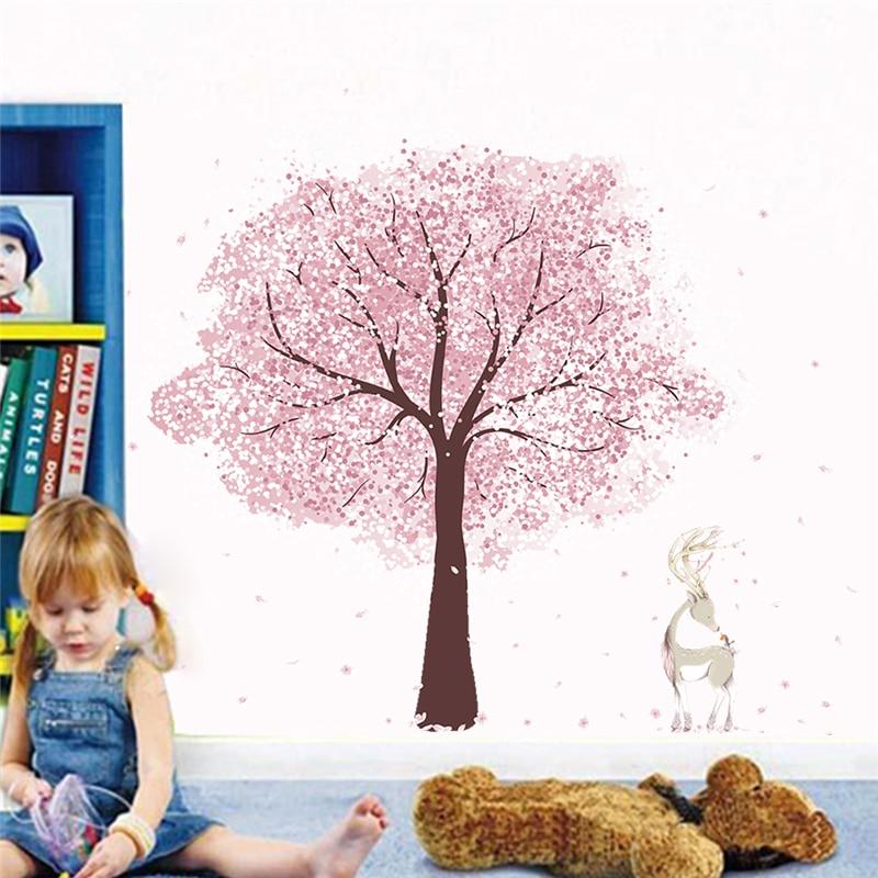 Romantic pink flower tree deer wall stickers for kids rooms 60*90cm home decor cartoon wall decals diy poster pvc mural art