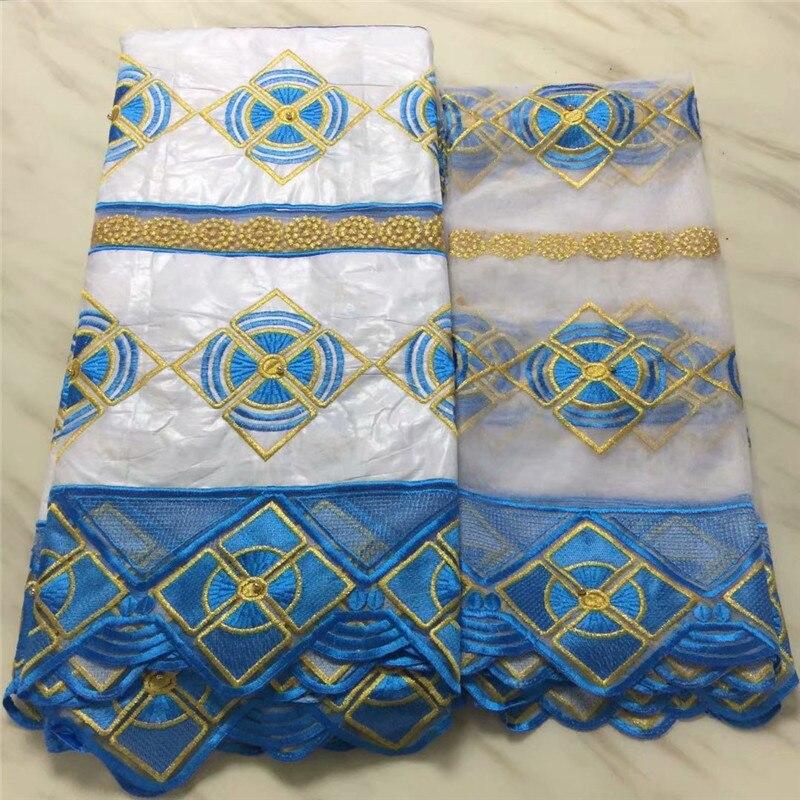 ¡Novedad de 2018! Tela de encaje azul africano Bazin bordado Riche para hombres/mujeres ropa 5 yardas + 2 yardas encaje para vestido pl73-8