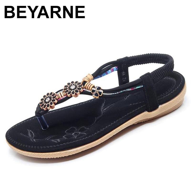 BEYARNE Women Sandals Fashion Flip Flops Women Shoes Crystal Floral Ladies Sandals 2018 Summer Flat Shoes Bohemian Beach Sandals