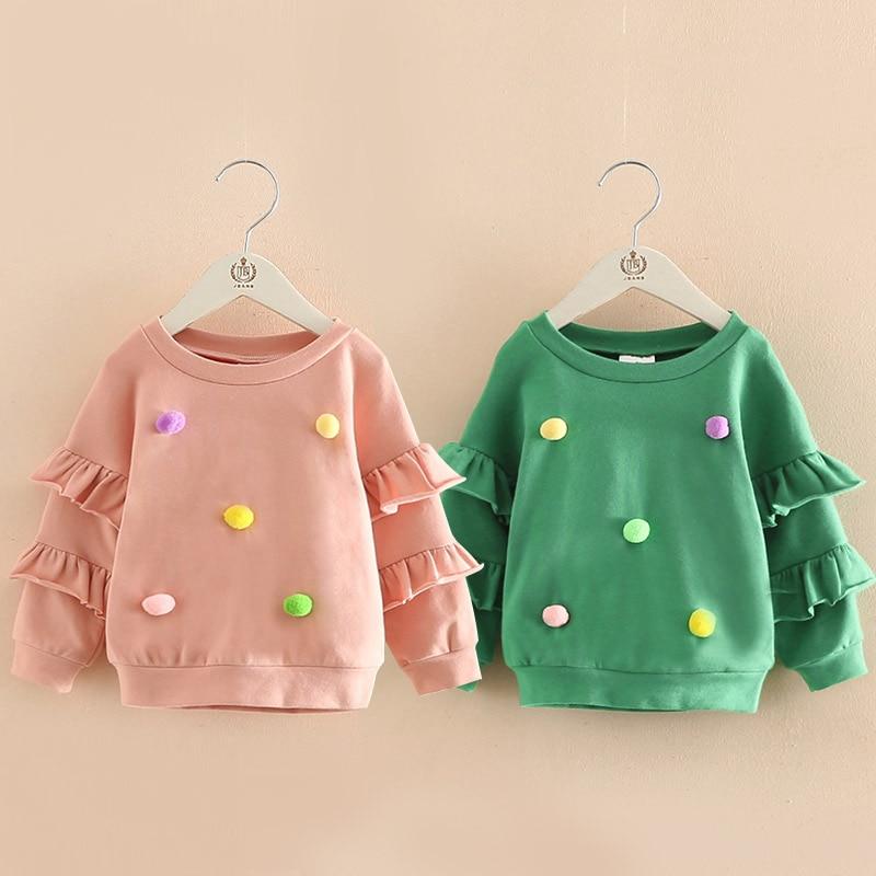 2018 Spring Autumn 2 5 6 7 8 9 10 Years Children'S Birthday Gift Flare Trumpet Sleeve Decoration Coat Kids Baby Girl Sweatshirt