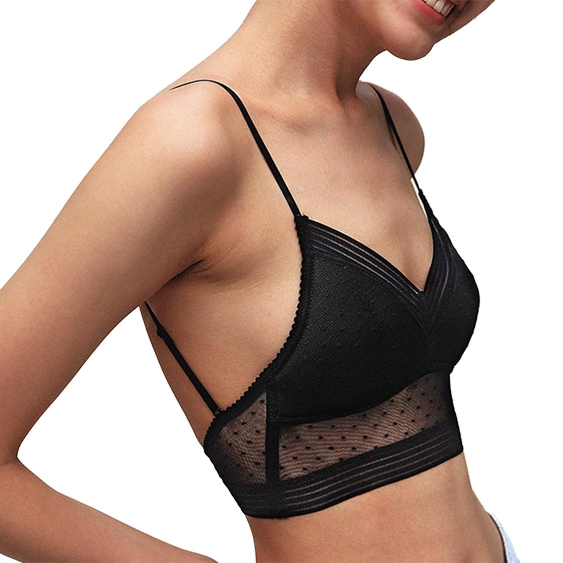 New Sexy Low Back Lace Bralette White Backless Bra dot mesh Ultra Thin Underwear Women Lingerie Sexy Tank Tops Bra
