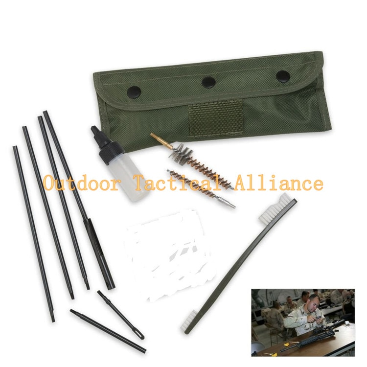 Juego de limpieza de pistolas táctico AR15 M16 de 10 uds, juego de herramientas de limpieza de Rifle de arma Universal de caza de policía militar del ejército, bolsa de Kit de herramientas de limpieza de Rifle