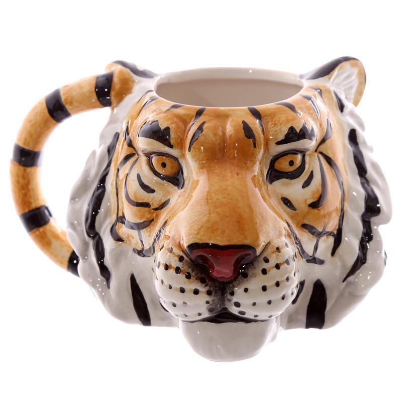 1Piece Wildlife Adventure Face 3D Lion Leopard Tiger Head Ceramic Coffee Mug Personalised Animal Tea Cup