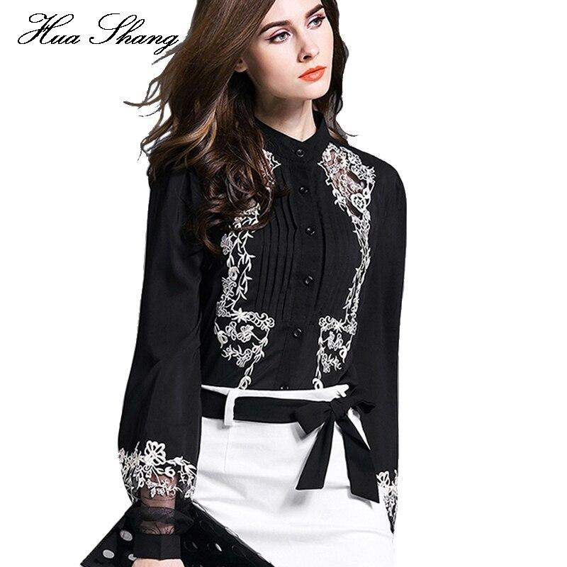 Nouveau mode haut pour femme broderie Transparent Floral lanterne manches noir Blouse chemise dames travail porter bureau en mousseline de soie Blouse