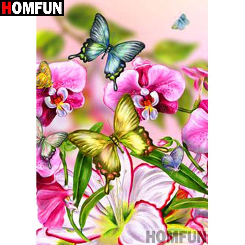 """HOMFUN cuadrado completo/taladro redondo 5D DIY diamante pintura """"Flor Mariposa"""" 3D diamante bordado punto de cruz hogar decoración A19898"""