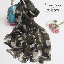 Foulard Long en soie pour femmes   Foulard Femme Lettre, Marque 100%, soie Pure, écharpe dété, châles imprimés de larmée verte et hijabs