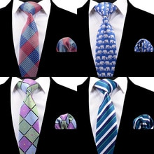 RBOCOTT Plaid Tie Set For Men Fashion Necktie Handkerchief Men's Classic Striped Neck Tie 8cm Red Blue Brown For Wedding