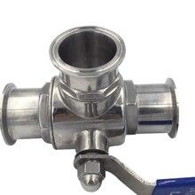 Т-образный шаровой кран 3/4 дюйма, 19 мм, из нержавеющей стали 304, санитарный 3-ходовой клапан 1,5 дюйма, тройной зажим 50,5 мм, обойма O/D для домашнег...