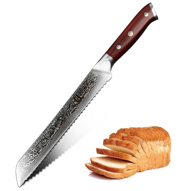Nuevo cuchillo de pan de 9 pulgadas de XINZUO, cuchillo de Damasco de acero VG10, cuchillo de dientes de sierra, cuchillo de cocina con mango de palisandro