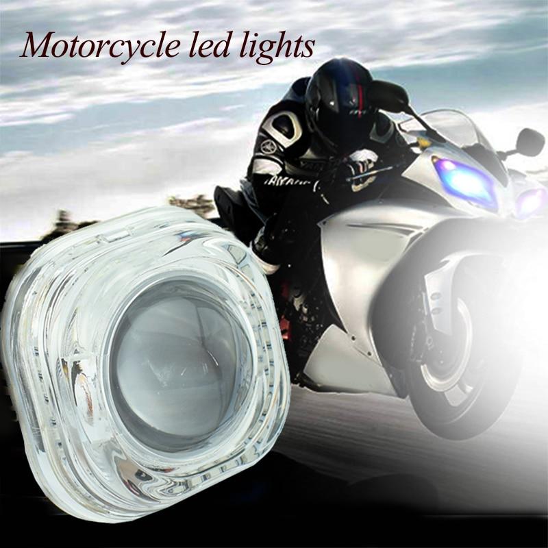 Motorcycle LED headlight 12v 6500K supe bright  moto Round Angel eyes chip Fog Lamp  Motorbike auxiliary driving spot head lamp