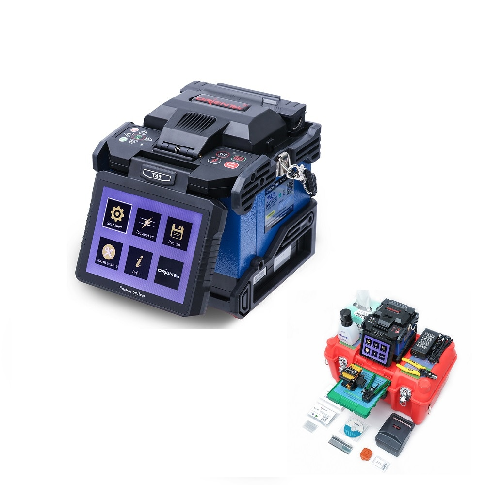 Empalmador de fusión Orientek T43 empalmado 9s calentamiento 30s con instrumento de fibra óptica 9 idiomas fabricación envío gratis