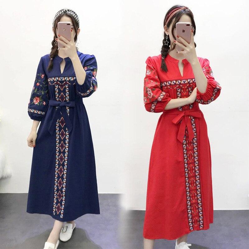 Feminino casual vintage flor bordado casual vestido longo lanterna manga laço plissado vestidos casuais retro boho