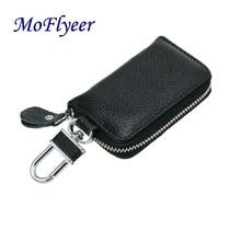 MoFlyeer Genuine Leather Unisex Solid Key Wallet Key Organizer Bag Car Housekeeper Wallet Key Holde