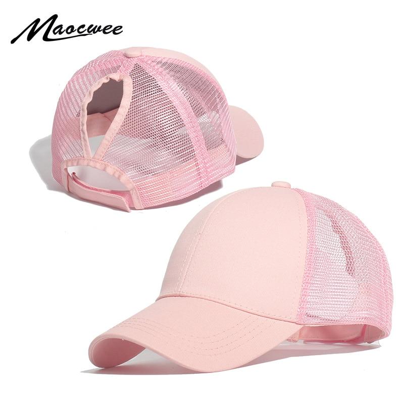Gorra de béisbol de cola de caballo MAOCWEE, gorras de moño ajustables desordenadas, sombrero negro rosa, gorra informal de algodón para niñas, gorras de malla de verano