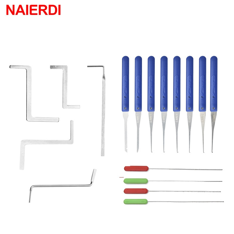 17PCS NAIERDI Locksmith Supplies Hand Tools Lock Pick Set Row Tension Wrench Tool Broken Key Auto Ex