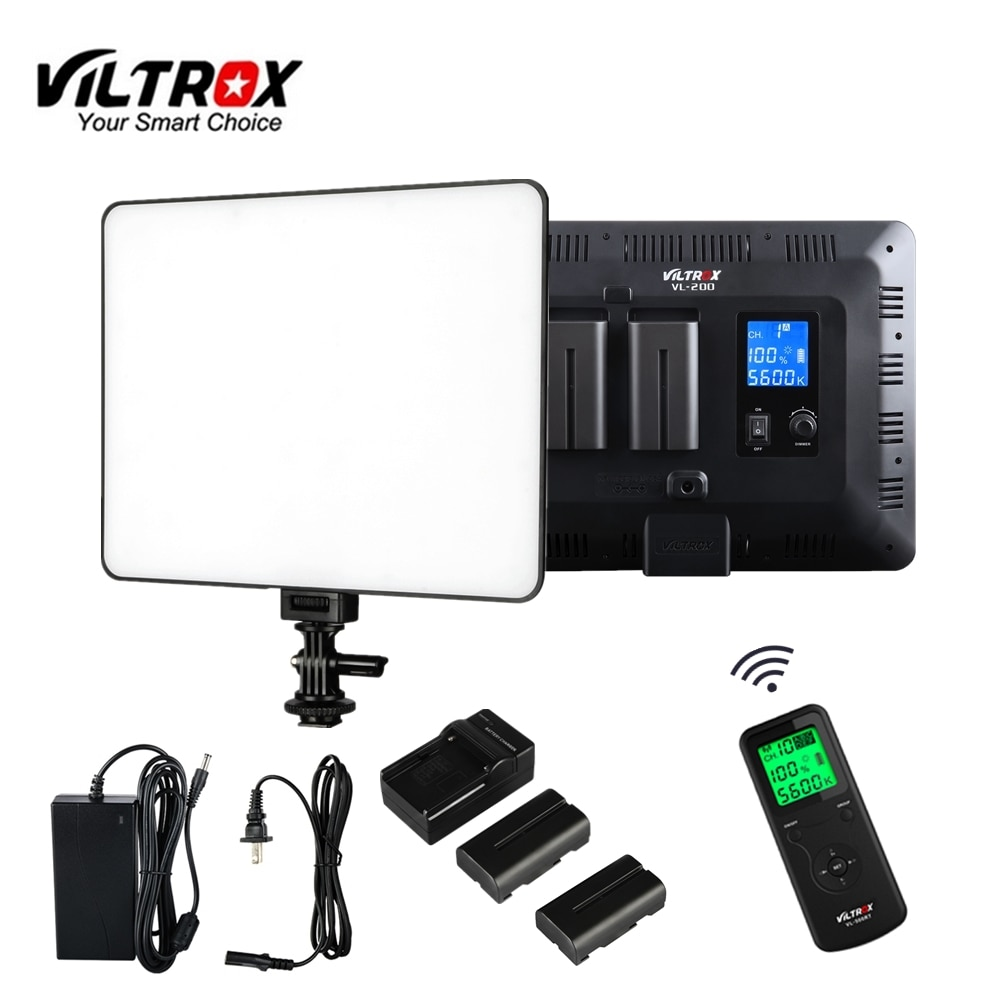 Viltrox vl200 controle remoto sem fio led video studio luz lâmpada magro bi-color regulável + adaptador ac + carregador de bateria para estúdio de fotos