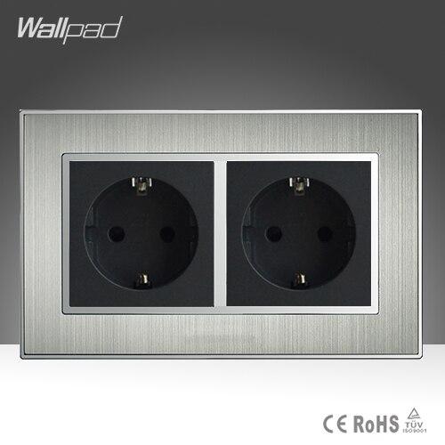 وافق CE جدار AC110-250V 146 القياسية مزدوجة الاتحاد الأوروبي 16A المقبس الفضة الساتان المعادن الاتحاد الأوروبي القياسية مقبس الحائط امدادات الطاقة
