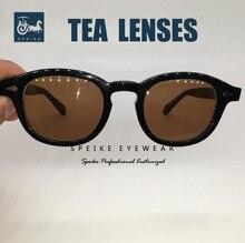 SPEIKE-lunettes de soleil vintage thé   Lunettes de soleil rétro marron, style Johnny Depp Lemtosh, café porlarisé, peut être myopie