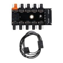 1Pc IDE Molex 1 a 10 forma de ventilador de refrigeración PWM Hub 12V 4-toma corriente de PIN adaptador de PCB para PC ordenador sistema de enfriamiento de agua C26