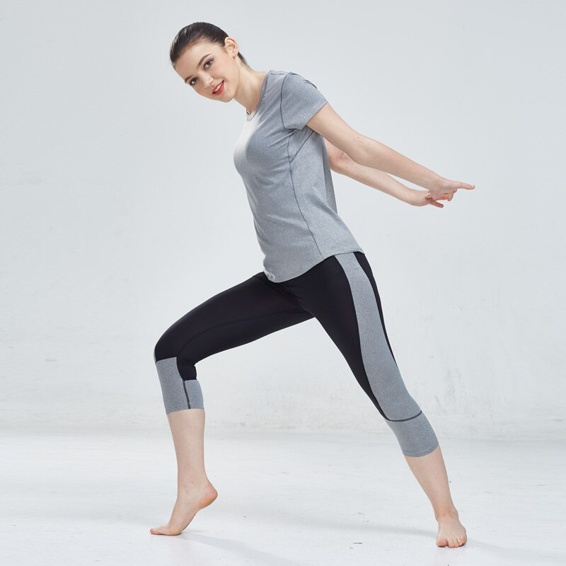 Sexy Yoga Set Running Tracksuit Gym T-shirt + Tight 3/4 Legging Pants Compression Jogging Fitness Sport Wear Women Set 2018