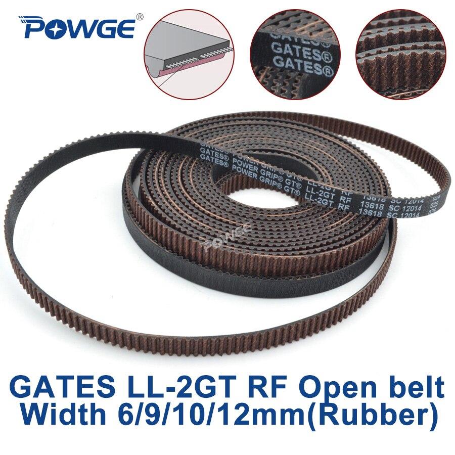 POWGE puertas GT2 LL-2GT RF 2GT ancho de la correa de distribución síncrona abierta 6/9/10/12mm goma baja polvo baja vibración VORON impresora 3D