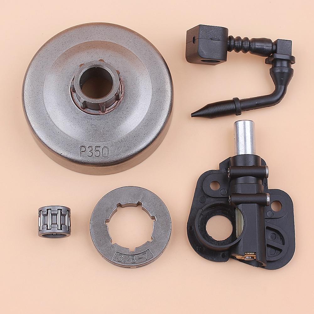 "3/8"" 7T Clutch Drum Sprocket Rim Bearing Oil Pump Drive Set fit PARTNER 420 390 350 351 352 370 371 Chainsaw Spare Parts"