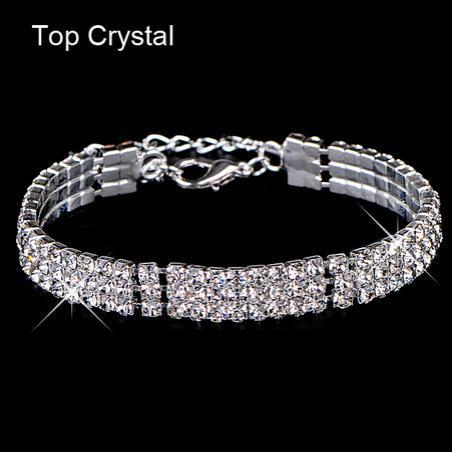 Christmas Gift Luxury Crystal Bracelets For Women Silver Color Bracelets Bangles Femme Bridal Wedding Jewelry Pulseira Feminina