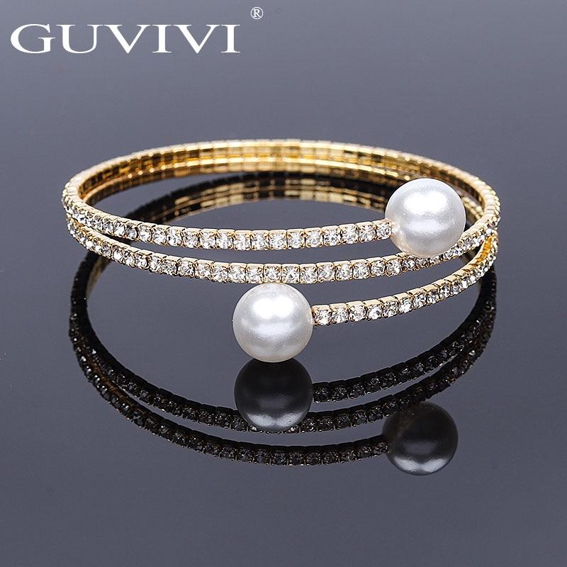 Guvivi Fashion Crystal Pave Open Wrist Bracelets For Women Girls Luxury Imitation Pearl Gold Color Bracelets Bangles Jewelry