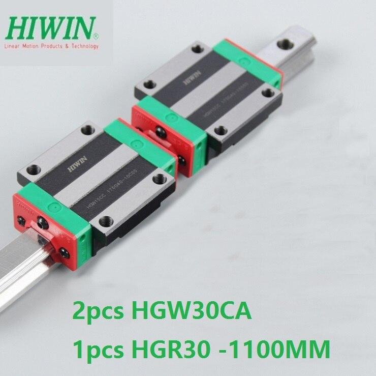 1 قطعة 100% الأصلي Hiwin الخطي دليل HGR30 -L 1100 مللي متر + 2 قطعة HGW30CA HGW30CC شفة بلوك ل cnc راوتر