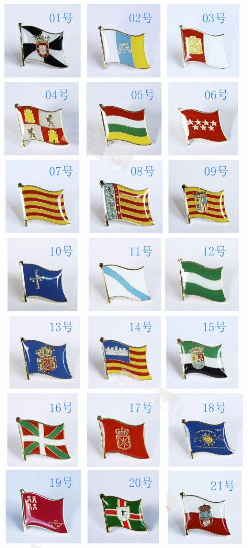 AliExpress - National Flag Metal Lapel Pin Flag Pin Autonomous communities of Spain Nationalities and regions of Spain