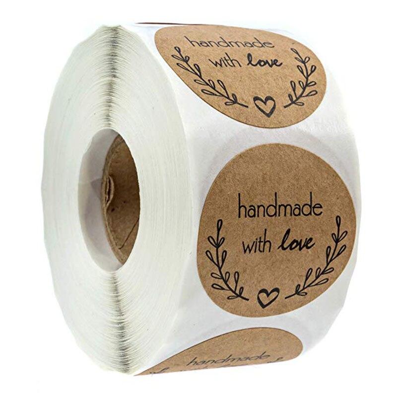 Adornos navideños para el hogar etiquetas adhesivas redondas naturales Kraft rama de olivo hechas a mano con pegatinas de amor/500 etiquetas por rollo