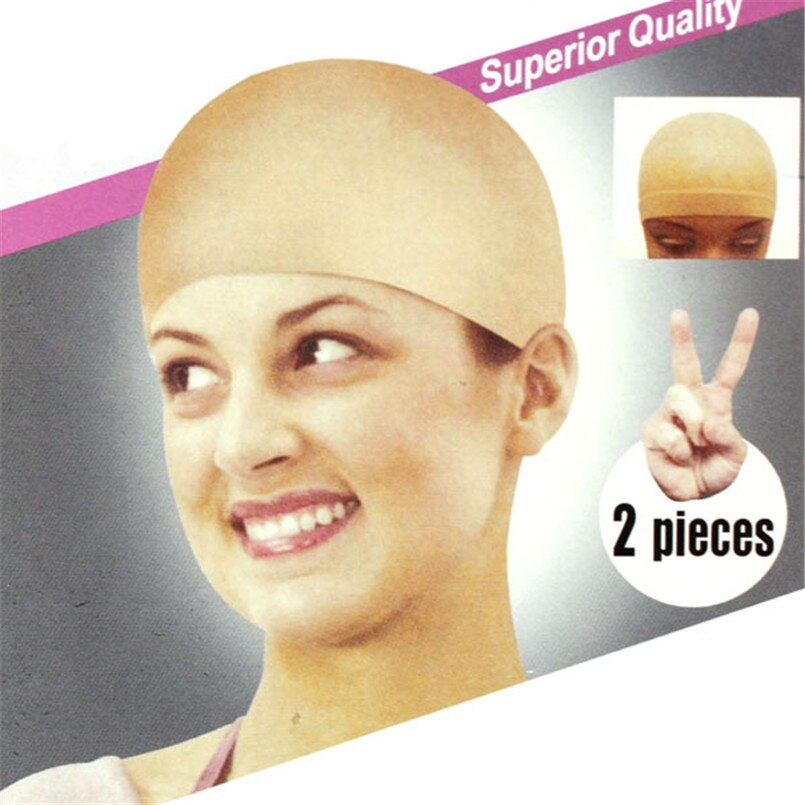 2 uds, Unisex, Nylon, peluca calva, gorro de pelo, forro de media, redecilla, malla, estiramiento, color Beige desnudo G0225