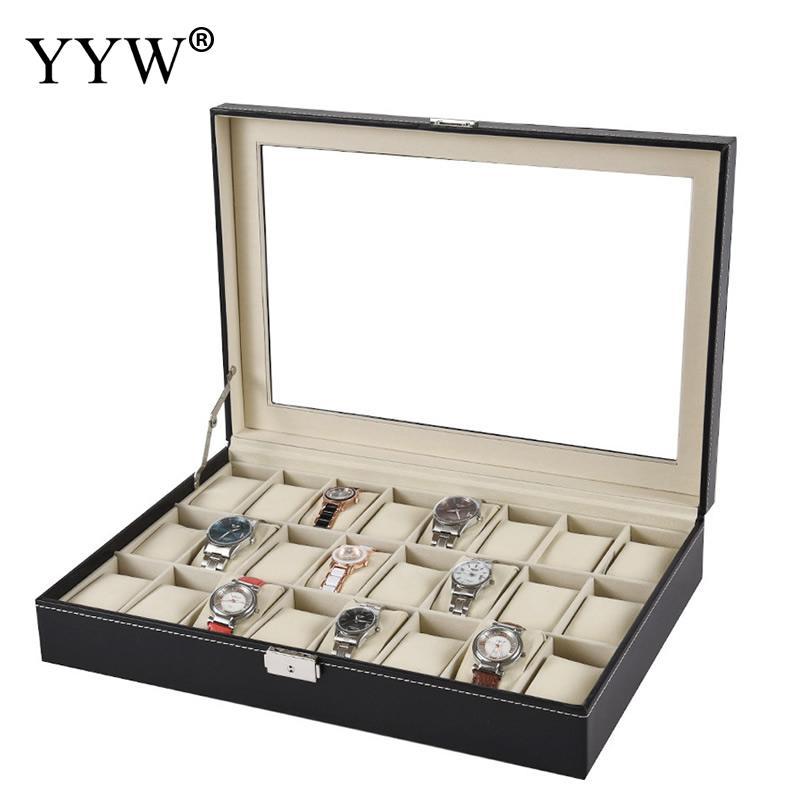 2 3 6 10 12 20 24 Grids PU Leder Uhr Box Fall Professionelle Halter Organizer für Uhr Uhren Schmuck boxen Fall Display