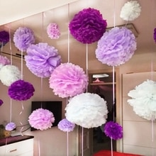 Pompones de papel tisú hechos a mano de 4 (10CM), Bola de Flor de Papel, pompones para decoración de hogar, jardín, boda, fiesta de cumpleaños, 10 Uds.