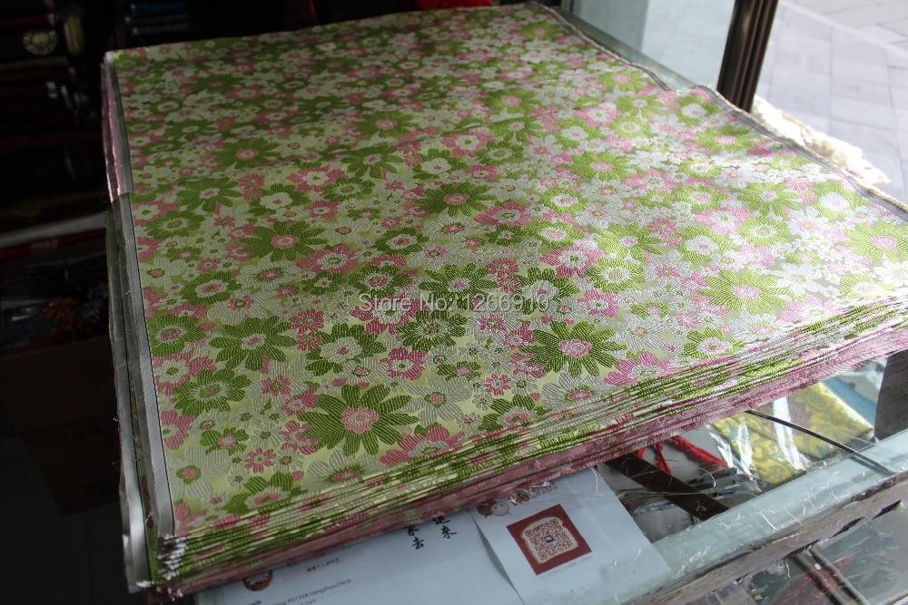 Brocado de seda chino, tela de Damasco para cojines o qipaos, verde claro, verde, blanco, flores rosas