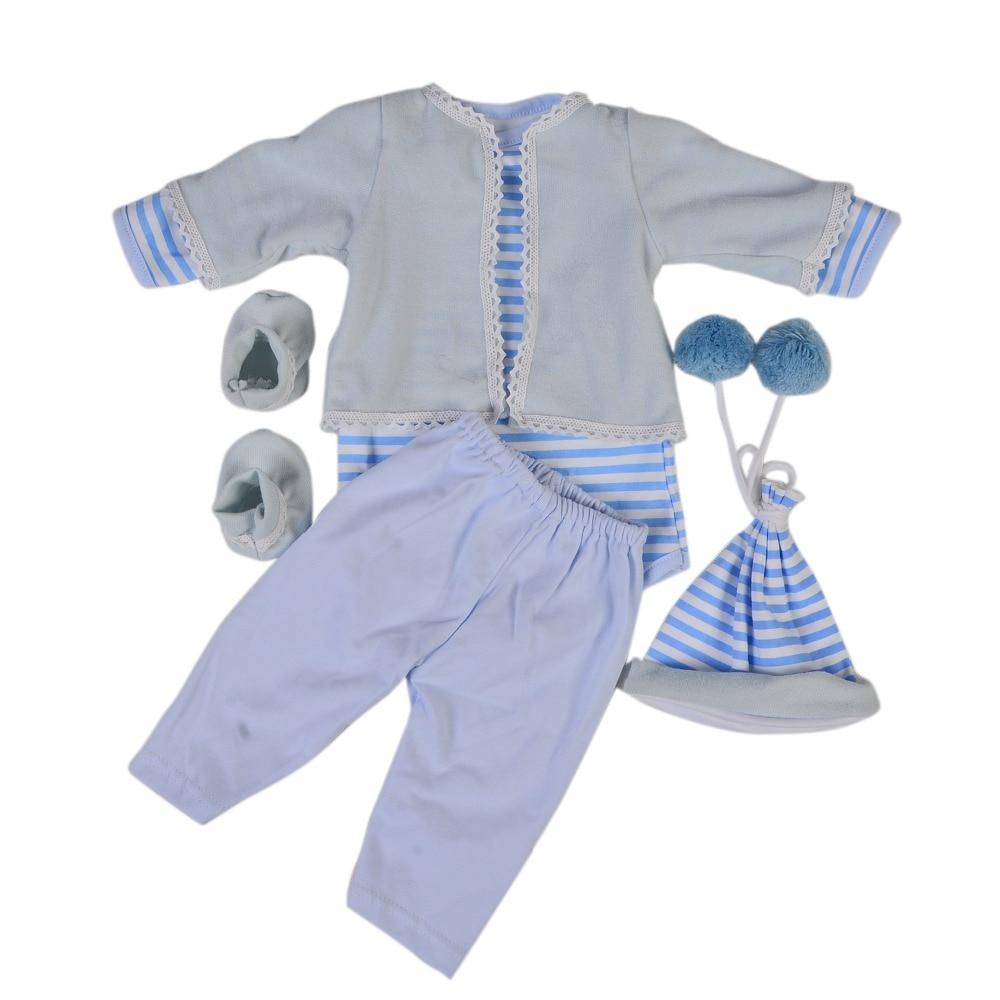 ¡Venta al por mayor! Ropa de muñeca bebé Reborn KEIUMI de 22-23 pulgadas, ropa de bebé azul, sombrero para bebé, pantalones con medias, camisa, abrigo, accesorios de muñeca