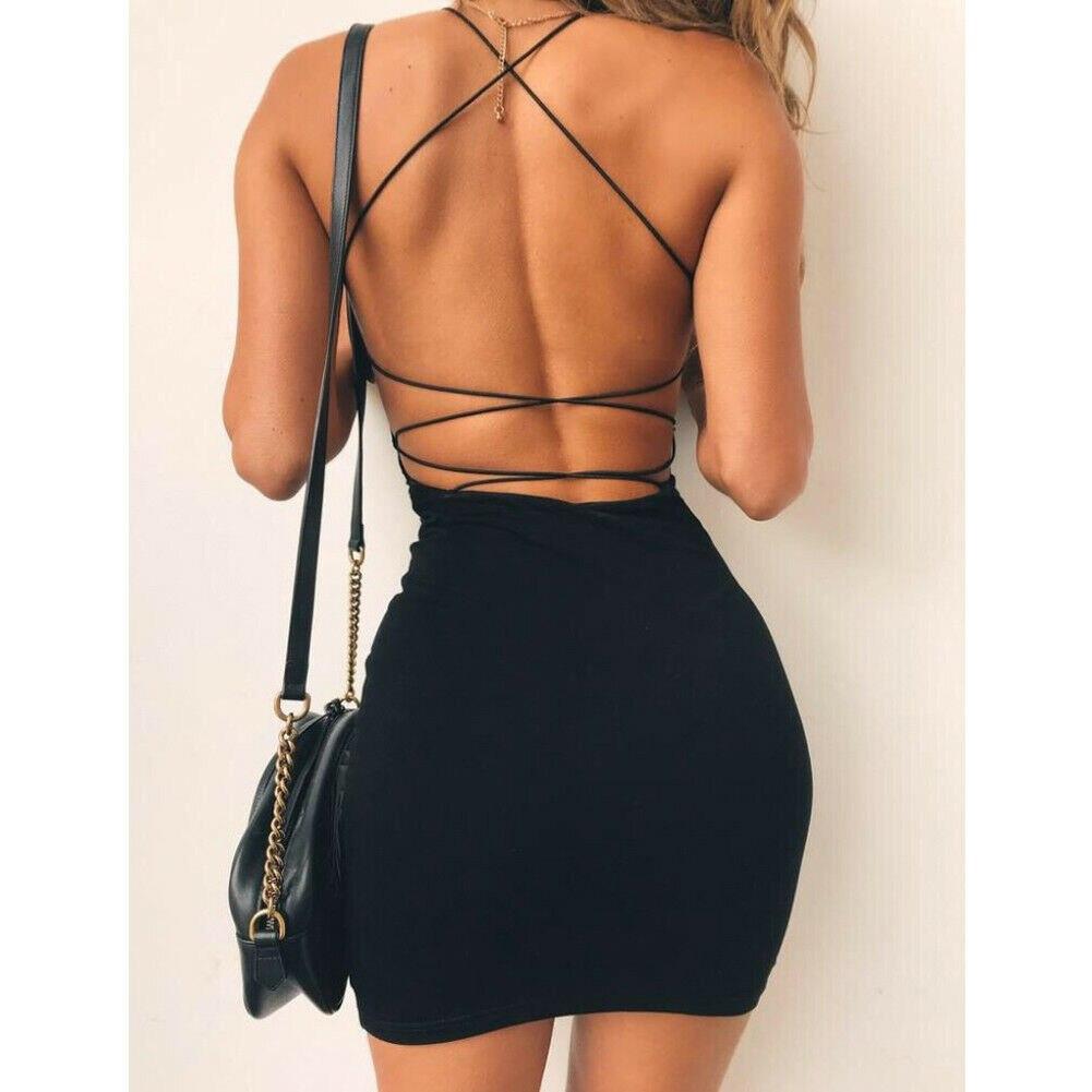 2019 New Fashion Summer Women Plain Solid Color Bandage Dress Elegant Backless Sleeveless Bodycon Evening Party Club Mini Dress