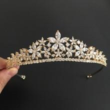 Tiare de mariage en Zircon cubique clair doré Vintage en or pour mariée en CZ, mariée avec la reine de la princesse, reconstitution historique, couronne de fête royale, bijoux pour femmes